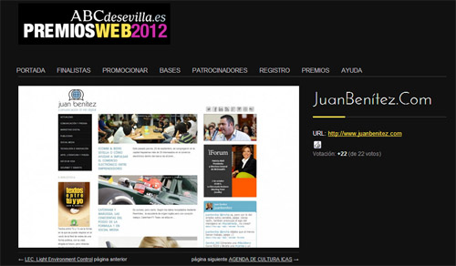 juanbenitez.com finalista en los Premios Web 2012 de ABC de Sevilla