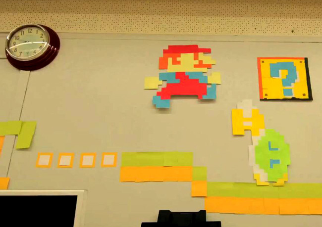 Mario Bros se vuelve analógico para hacernos disfrutar de la oficina
